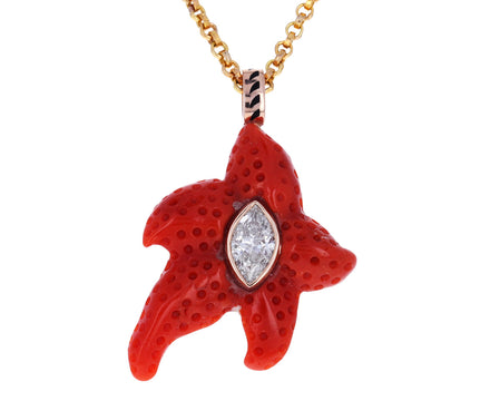 Marquise Diamond Coral Starfish Pendant ONLY