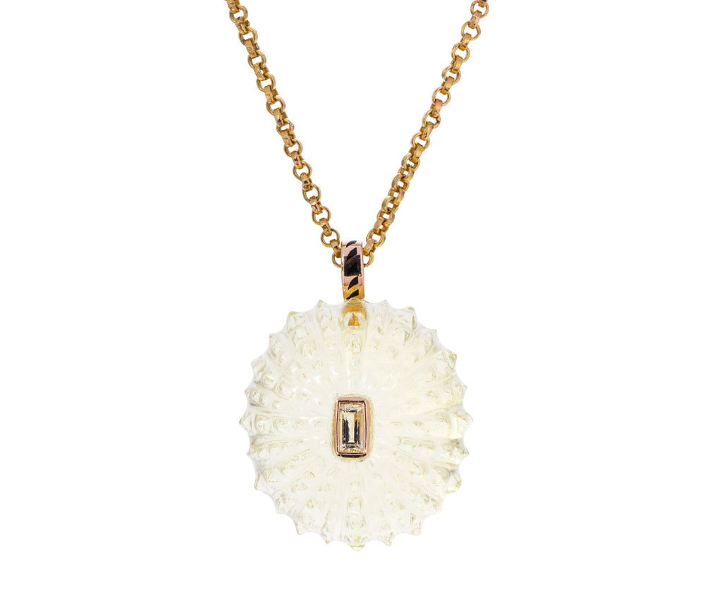 Carved Lemon Quartz Sea Urchin with Beryl Pendant ONLY