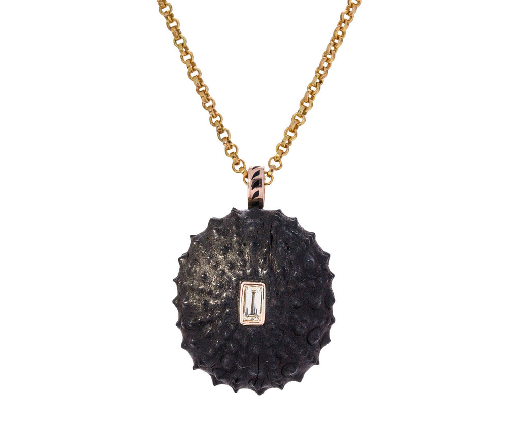 Carved Wood Sea Urchin with Beryl Pendant ONLY