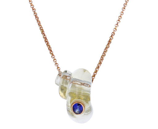 Lemon Quartz and Kyanite Turbo Shell Pendant ONLY