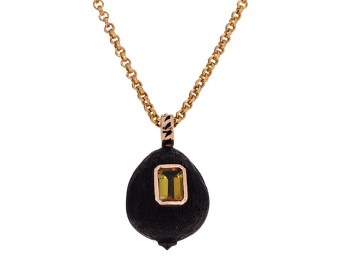 Carved Wood Coquito and Tourmaline Pendant ONLY