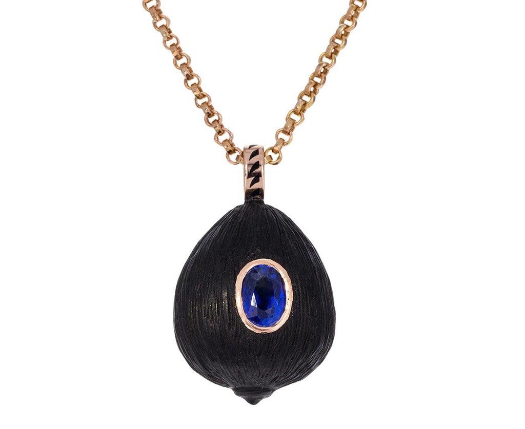 Carved Wood Coquito and Sapphire Pendant ONLY - TWISTonline