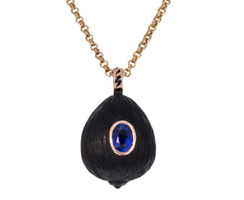 Carved Wood Coquito and Sapphire Pendant ONLY zoom 1_dezso_gold_sapphire_carved_ebony_charm