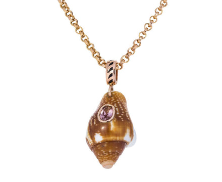 Petite Careyes Shell and Garnet Pendant ONLY - TWISTonline