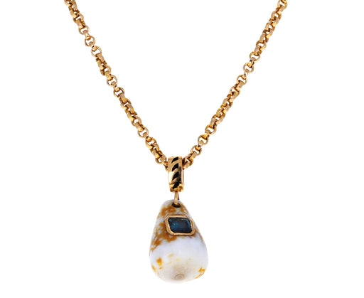 Careyes Shell with Blue Tourmaline Pendant ONLY
