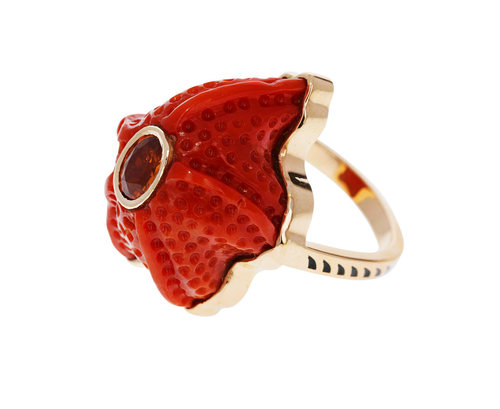 Coral Starfish and Tourmaline Ring