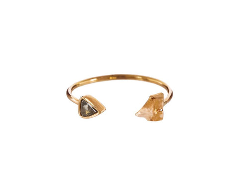 Brown Diamond Petite Shark Tooth Cuff Ring zoom 1_dezso_diamond_shark_tooth_ring