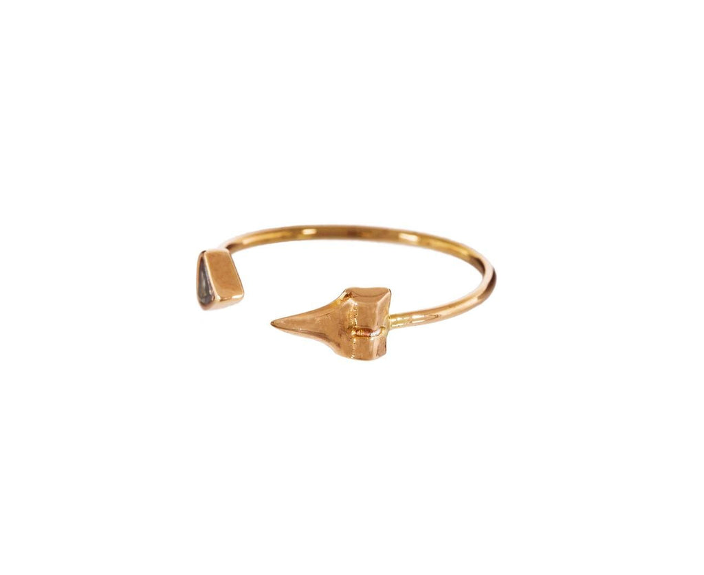 Brown Diamond Petite Shark Tooth Cuff Ring - TWISTonline