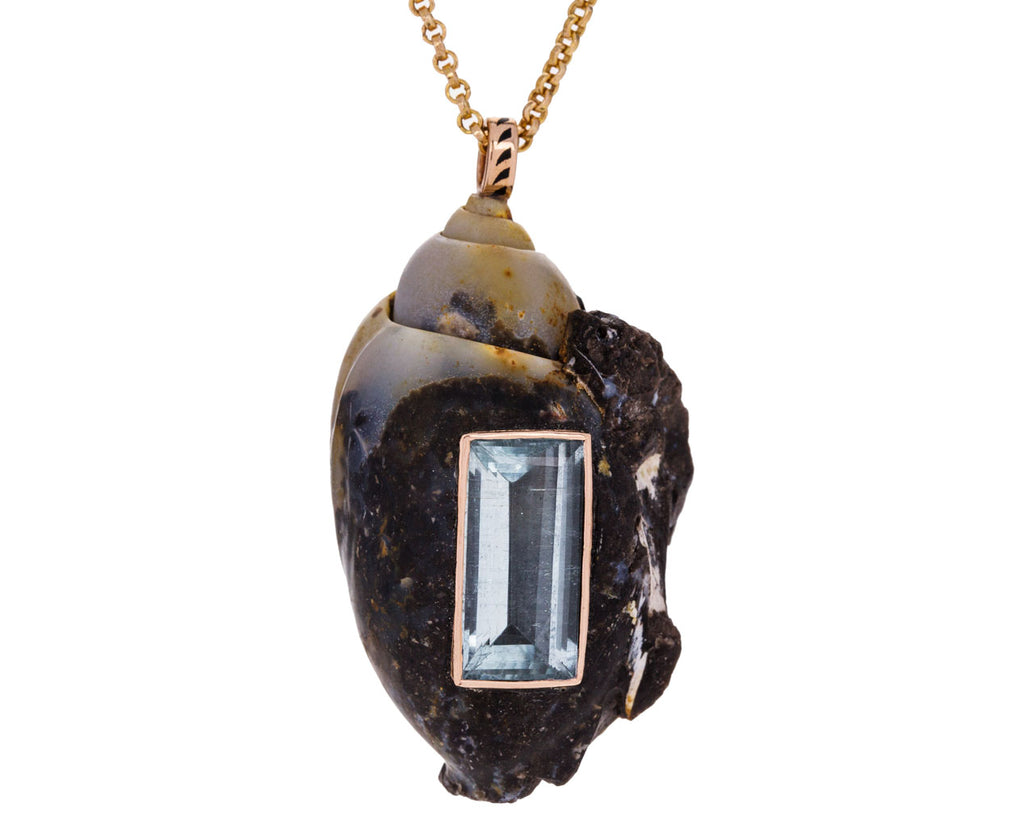 Fossilized Shell and Aquamarine Pendant ONLY