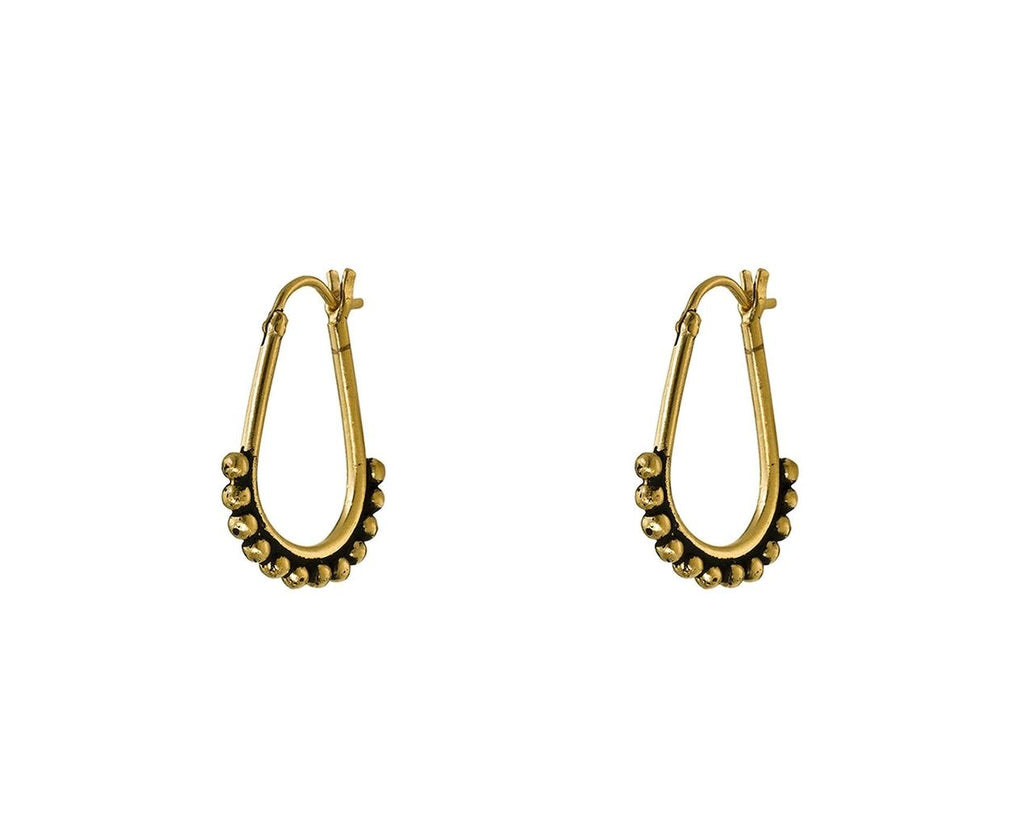 Pear Shaped Granulated Hoop Earrings - TWISTonline