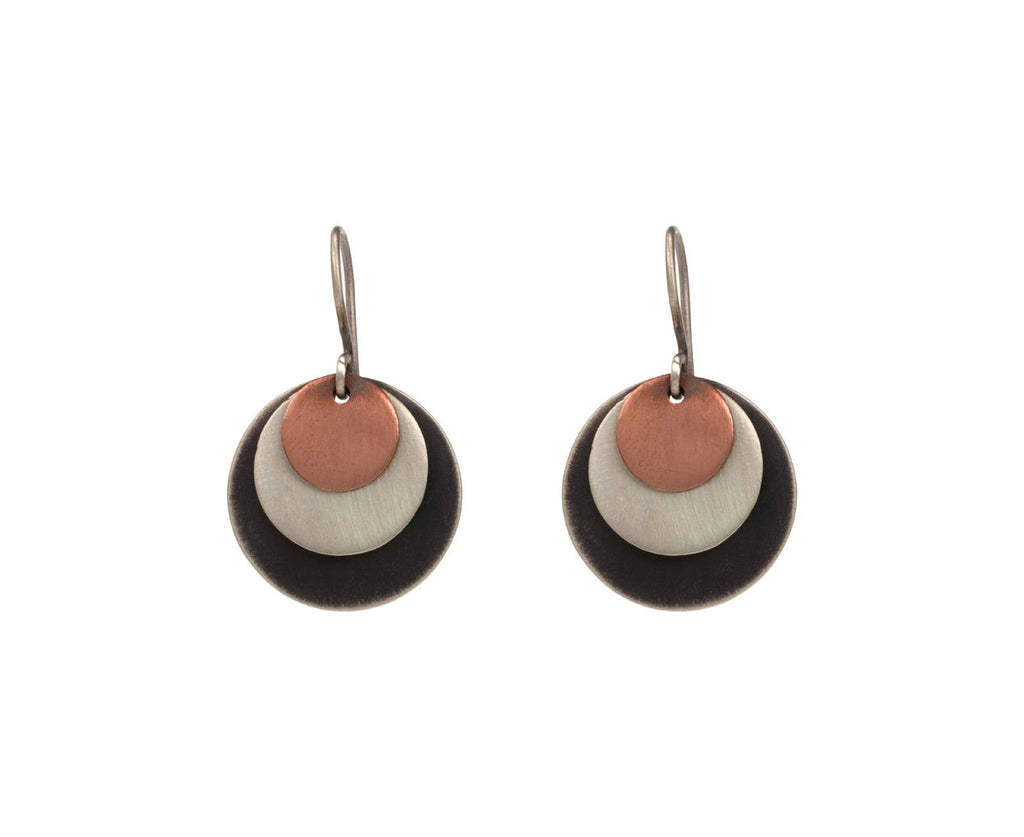 Triple Metal Disc Earrings - TWISTonline