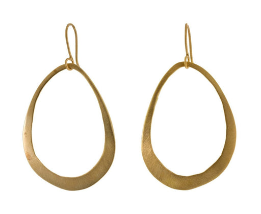 Gold Plated Large Open Organic Oval Earrings - TWISTonline