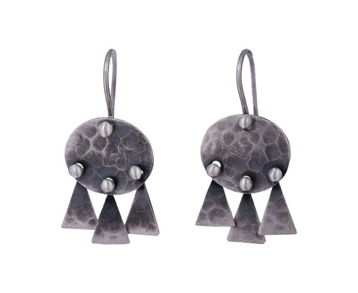 Hammered Disc Triangle Drop Earrings - TWISTonline