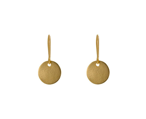 Gold Plated Brushed Disc Drop Earrings - TWISTonline