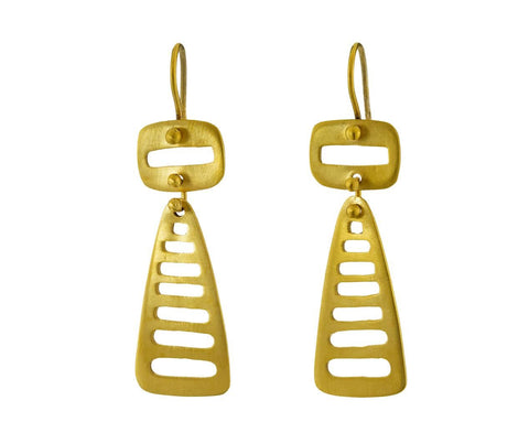 Mid Century Double Cut Out Drop Earrings - TWISTonline