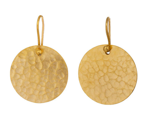 Hammered Disc Drop Earrings zoom 1_jane_diaz_gold_hammered_disc_earrings1