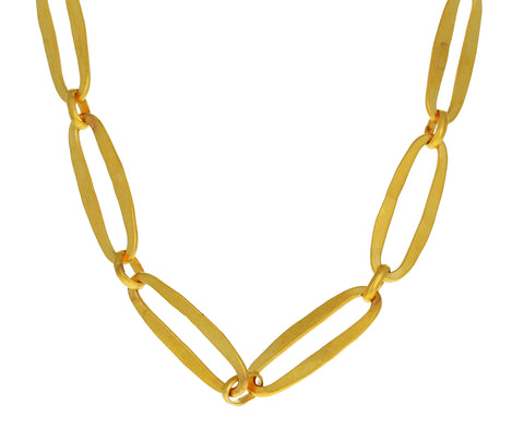 Gold Plated Hammered Heavy Oval Chain