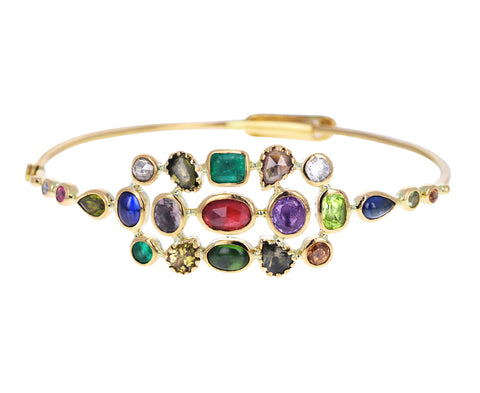 Mixed Gem Couronnement Bangle Bracelet