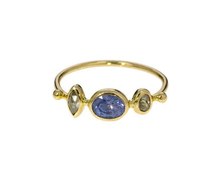 Blue Sapphire and Diamond Simple Ring - TWISTonline