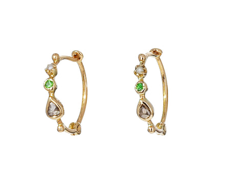 Multi Gem Hoop Earrings - TWISTonline