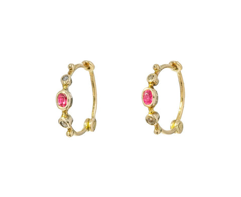 Diamond and Spinel Hoop Earrings - TWISTonline
