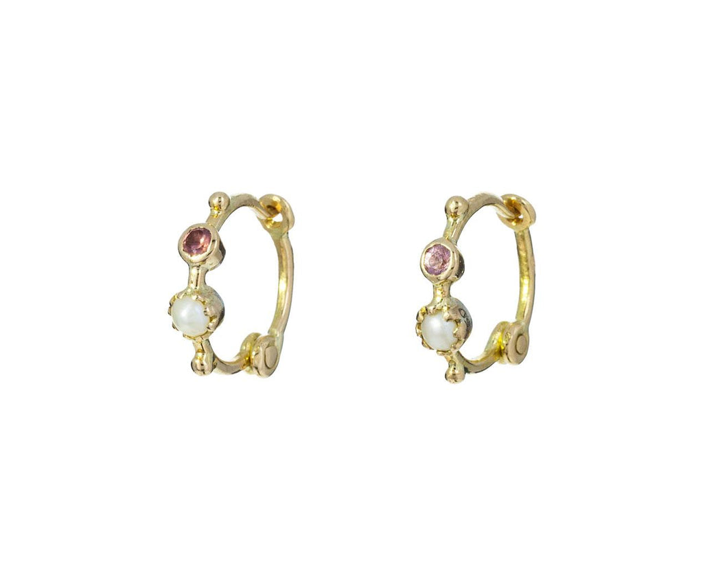 Pearl and Sapphire Mini Hoop Earrings zoom 1_dorette_gold_pearl_sapphire_earrings