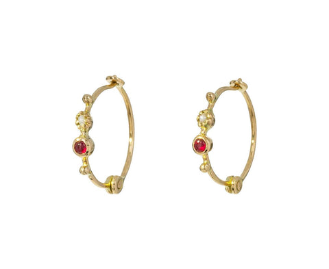 Pearl and Ruby Hoop Earrings - TWISTonline