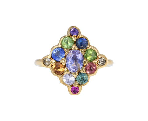 Pastel Multi-Gem Shield Ring