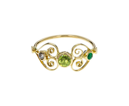 Green Sapphire Filigree Heart Ring - TWISTonline