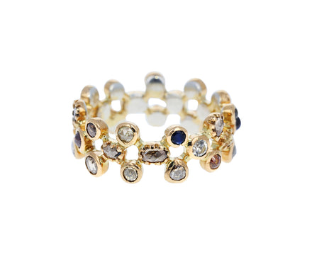 Moonstone, Sapphire and Diamond Band