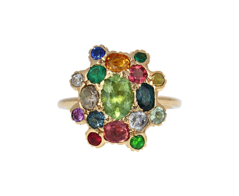 Multi Gem Shield Ring