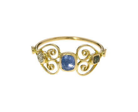 Blue Sapphire Filigree Heart Ring - TWISTonline