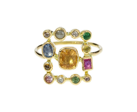 Multi-Gem Square Ring - TWISTonline