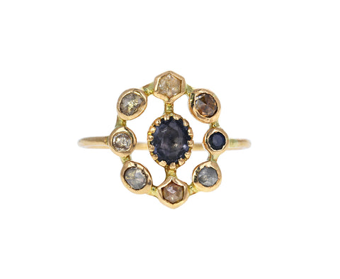 Diamond and Spinel Couronnee Ring