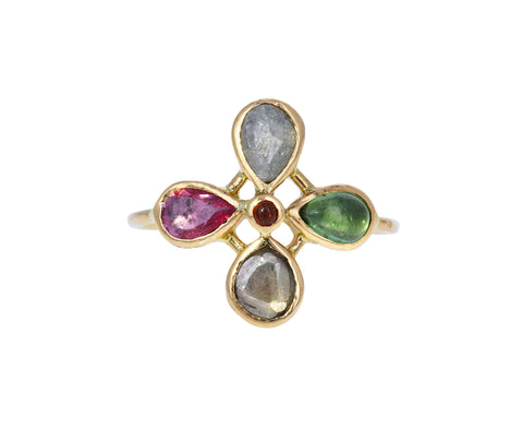 Multi Gem Flower Ring