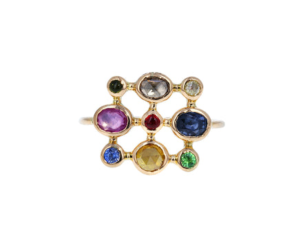 Square Multi Gem Couronnee Ring
