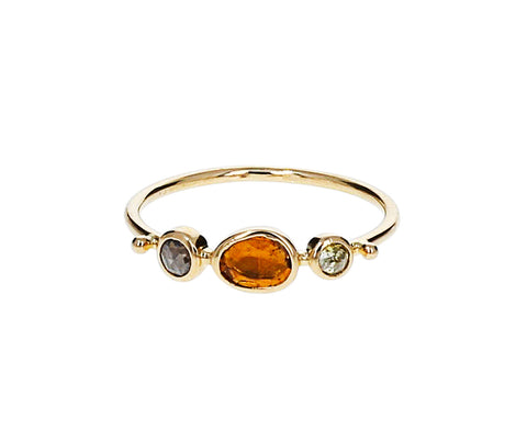 Yellow Tourmaline and Diamond Simple Ring