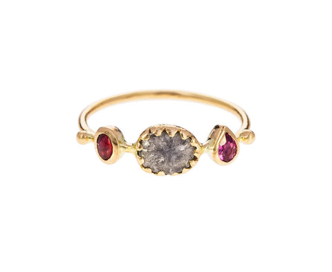 Pink Tourmaline and Diamond Simple Ring - TWISTonline