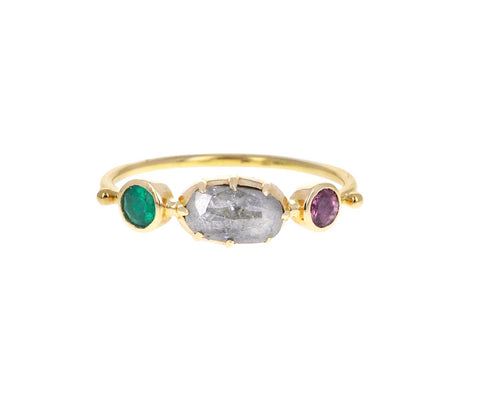 Emerald, Ruby and Diamond Simple Ring