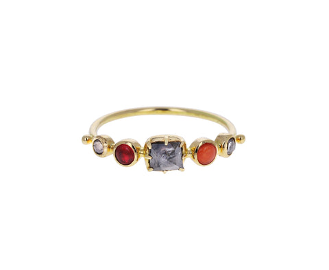 Spinel, Jasper and Diamond Simple Ring