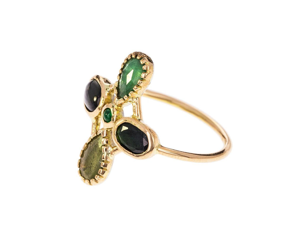 Emerald and Tourmaline Bague Couronnee Ring - TWISTonline