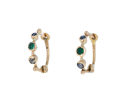 Diamond and Emerald Hoop Earrings