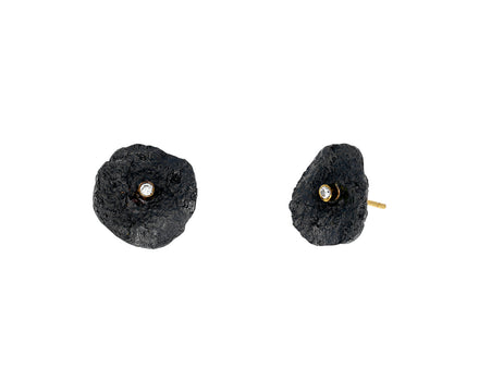 Blackened Sterling Silver Letting Go Stud Earrings