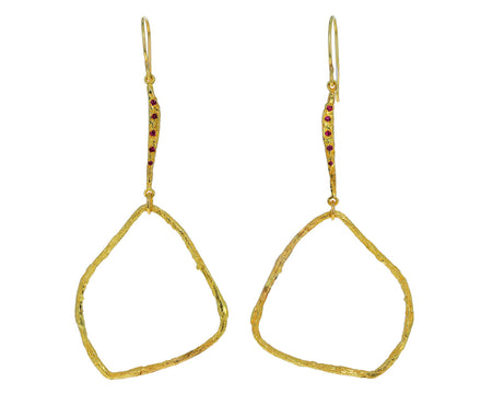 Ruby Cuore Aperto Dangle Earrings