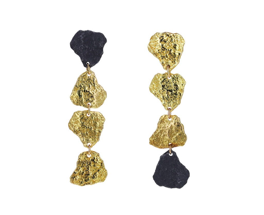 Gold and Silver Cuore Aperto Drop Earrings