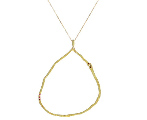 Ruby and Diamond Cuore Aperto Pendant Necklace
