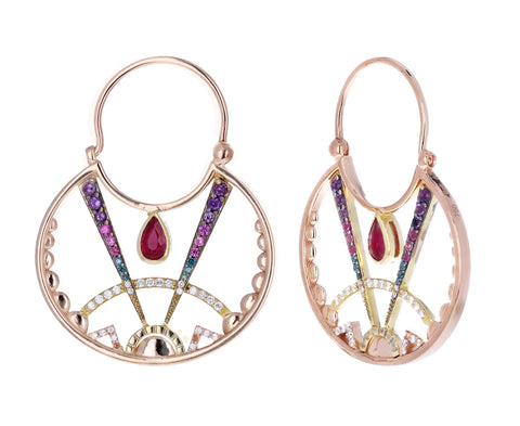 Sunrise Ruby Hoop Earrings