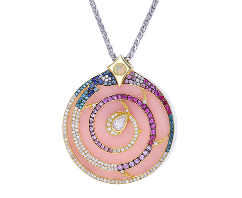 Pink Opal Diamond Shell Pendant Necklace