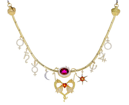 Rubellite, Diamond and Sapphire Dragon Planets Necklace