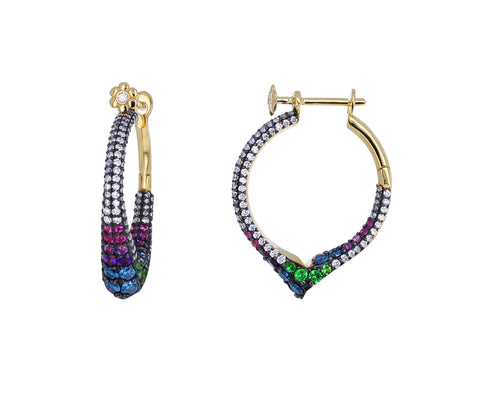 Sparkling Multi Gem Encrusted Hoops